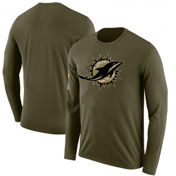 Men's Blank Miami Dolphins Salute to Service Sideline Olive Legend Long Sleeve T-Shirt
