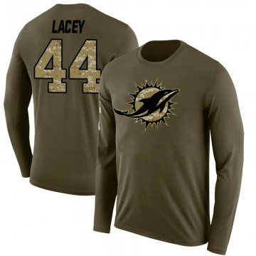 Men's Deon Lacey Miami Dolphins Salute to Service Sideline Olive Legend Long Sleeve T-Shirt