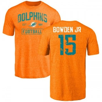 Men's Lynn Bowden Jr. Miami Dolphins Orange Distressed Name & Number Tri-Blend T-Shirt