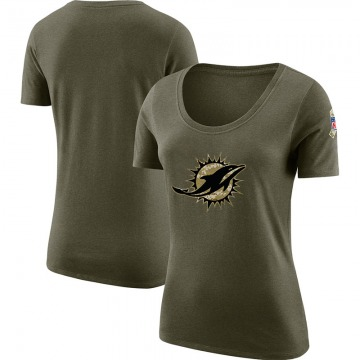 Women's Blank Miami Dolphins Salute to Service Olive Legend Scoop Neck T-Shirt