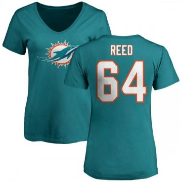 Women's Chris Reed Miami Dolphins Name & Number Logo Slim Fit T-Shirt - Aqua