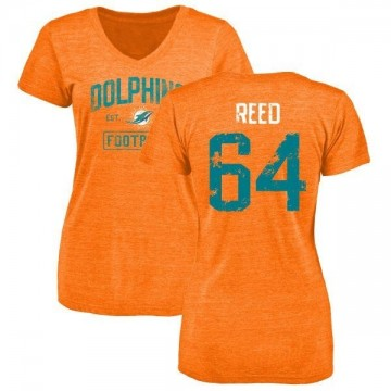 Women's Chris Reed Miami Dolphins Orange Distressed Name & Number Tri-Blend V-Neck T-Shirt
