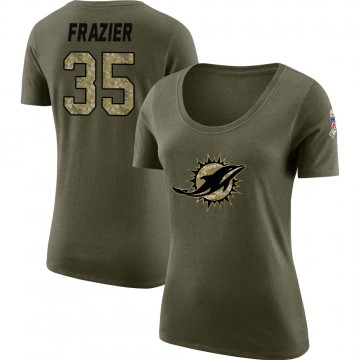 Women's Kavon Frazier Miami Dolphins Salute to Service Olive Legend Scoop Neck T-Shirt
