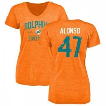 sneakers for cheap f42ef 139ea Women's Kiko Alonso Miami Dolphins Orange Distressed Name & Number  Tri-Blend V-Neck T-Shirt
