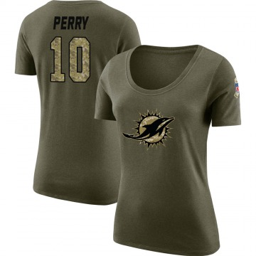 Women's Malcolm Perry Miami Dolphins Salute to Service Olive Legend Scoop Neck T-Shirt