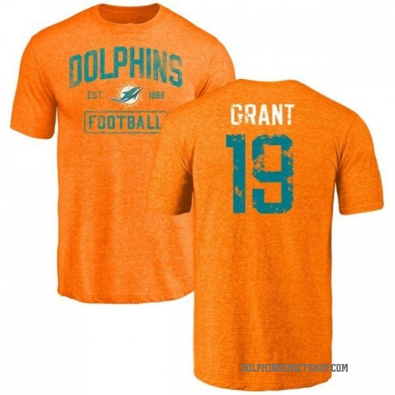 Youth Jakeem Grant Miami Dolphins Orange Distressed Name & Number Tri-Blend T-Shirt